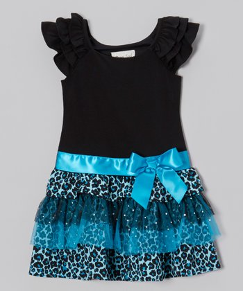 Black & Turquoise Leopard Tiered Dress - Girls