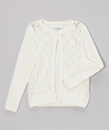 Ivory Lace Cardigan - Girls