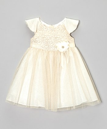 Gold Metallic Jacquard Dress - Girls