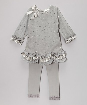 Silver Sparkle Ruffle Tunic & Leggings - Girls