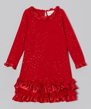 Red Sparkle Drop-Waist Dress - Girls