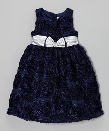 Navy Circle Soutache Dress - Girls