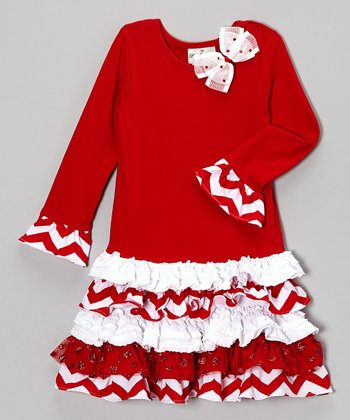 Red Tiered Drop-Waist Dress - Girls