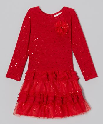 Red Sparkle Ruffle Tiered Dress - Girls