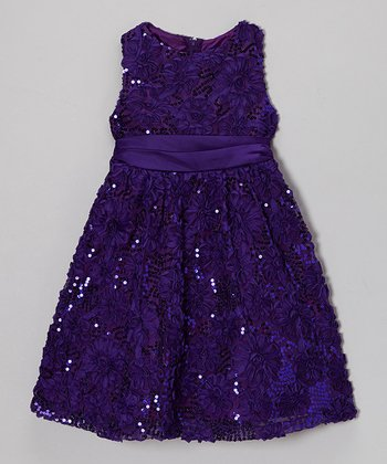 Purple Floral Soutache Dress - Infant