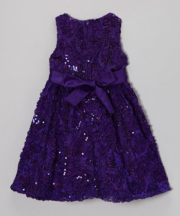 Purple Floral Soutache Dress - Girls