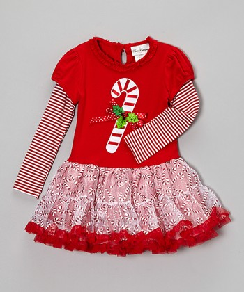 Red Candy Cane Layered Dress - Girls