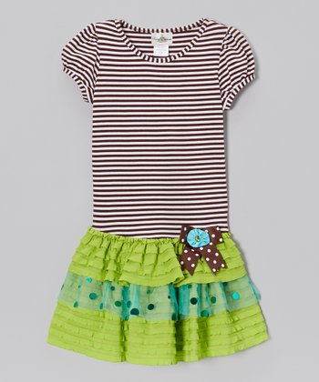 Brown & Lime Stripe Drop-Waist Dress - Girls