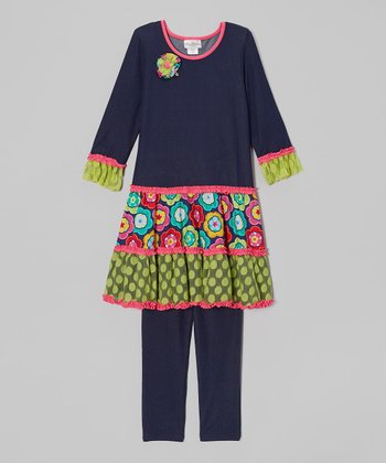 Denim & Pink Tiered Tunic & Leggings - Infant & Girls