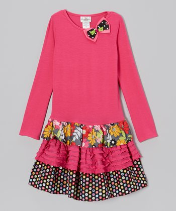 Fuchsia Ruffle Drop-Waist Dress - Girls