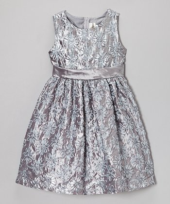 Silver Floral Soutache Dress - Infant