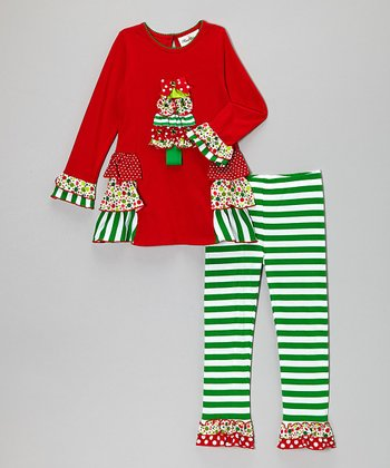 Red & Green Christmas Tree Tunic & Stripe Leggings - Girls
