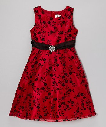 Red & Black Floral Organza Dress - Girls