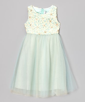 Ivory & Mint Flower Soutache Dress - Girls