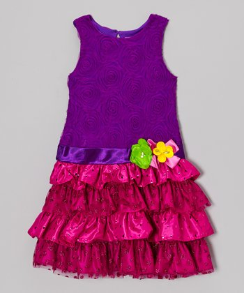 Purple & Pink Soutache Tiered Dress - Girls