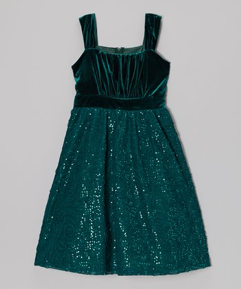 Emerald Velvet Soutache Dress - Girls