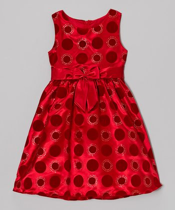 Red Dot Sparkle Dress - Girls