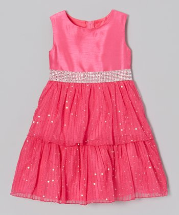 Fuchsia Sparkle Tiered Dress - Toddler & Girls
