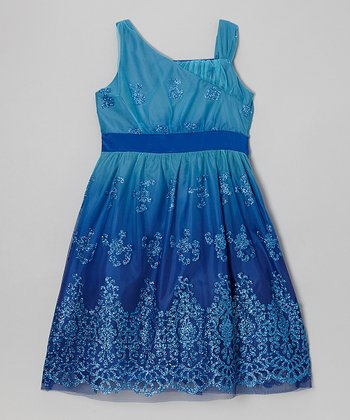 Blue Ombré Glitter Dress - Girls' Plus
