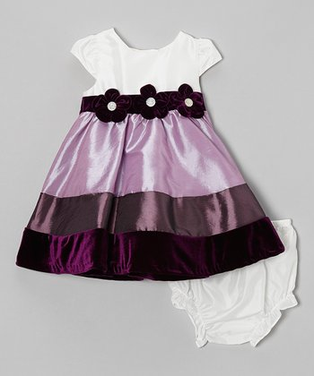Eggplant & Ivory Stripe Dress & Diaper Cover - Infant
