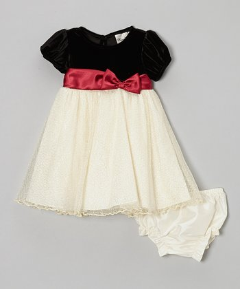 Black & Gold Sparkle Dress & Diaper Cover - Infant