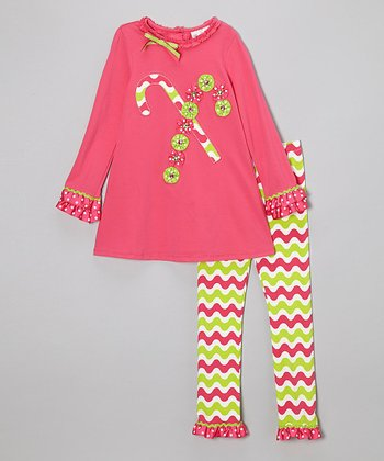 Fuchsia Candy Cane Tunic & Zigzag Leggings - Infant & Girls