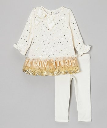 Ivory & Gold Tiered Tunic & Leggings - Infant, Toddler & Girls