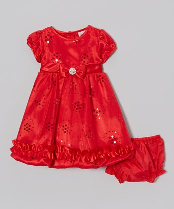 Red Sequin Cap-Sleeve Dress & Diaper Cover - Infant