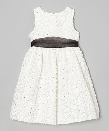 Ivory Soutache Sequin Dress - Toddler & Girls