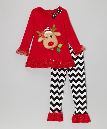 Red Reindeer Ruffle Tunic & Black Zigzag Pants - Infant & Girls