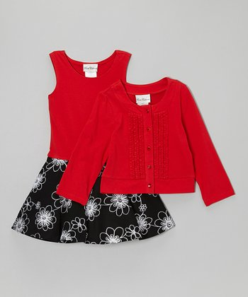 Black Floral Dress & Red Cardigan - Toddler & Girls