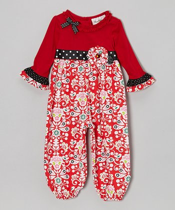 Red Damask Ruffle Playsuit - Infant