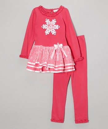 Pink Snowflake Dress & Leggings - Girls