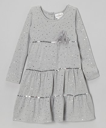 Silver Sparkle Tiered Dress - Girls