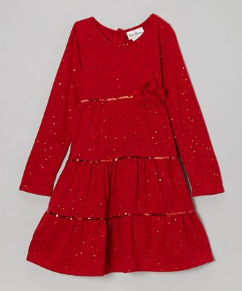 Red Sparkle Tiered Dress - Toddler & Girls