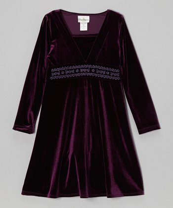 Purple Velvet Dress - Girls
