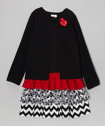 Red & Black Drop-Waist Dress & Cardigan - Girls' Plus