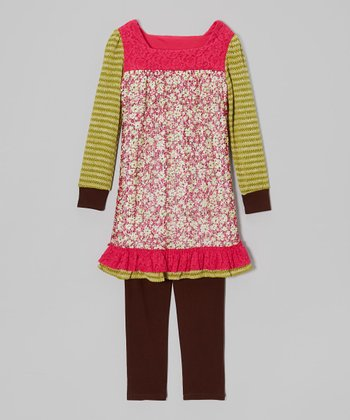 Fuchsia Floral Tunic & Brown Leggings - Girls
