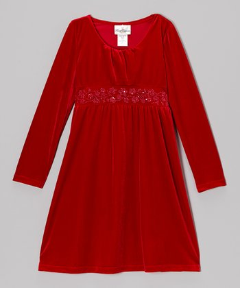 Red Floral Velvet Dress - Girls