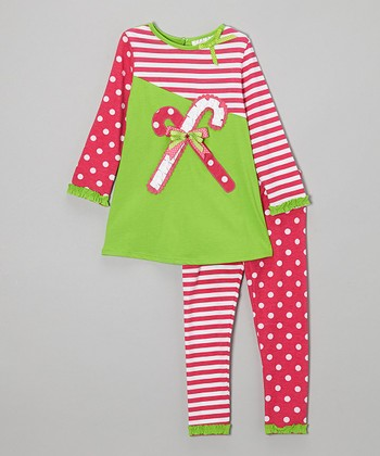 Red & Lime Candy Cane Tunic & Leggings - Infant & Toddler