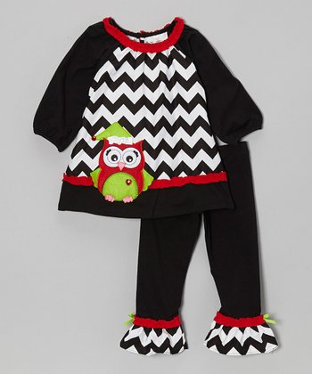 Black & Red Zigzag Owl Tunic & Leggings - Infant, Toddler & Girls