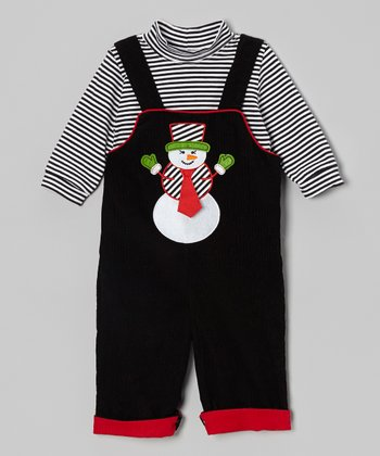 Black Stripe Bodysuit & Snowman Overalls - Infant