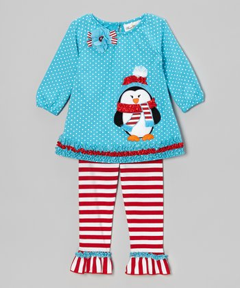 Blue Penguin Tunic & Red Stripe Leggings - Infant, Toddler & Girls