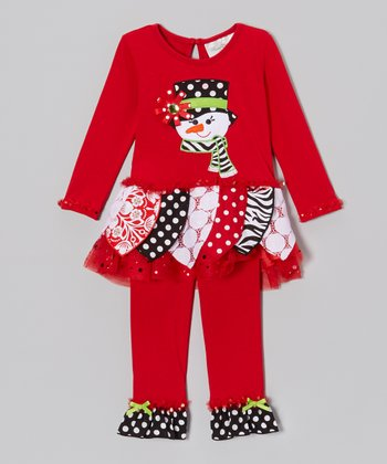 Red Snowman Dress & Ruffle Leggings - Toddler & Girls