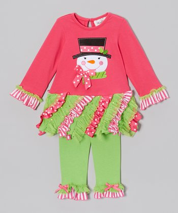 Pink & Lime Snowman Dress & Leggings - Infant, Toddler & Girls