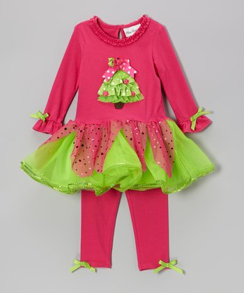 Fuchsia & Lime Dress & Leggings - Infant & Toddler