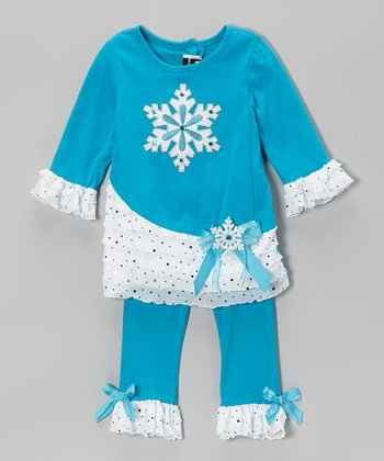 Turquoise & White Snowflake Tunic & Leggings - Infant, Toddler & Girls
