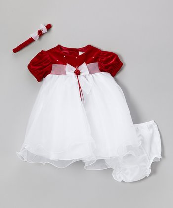 Red & White Bow Dress Set - Infant
