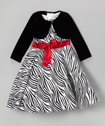 Black & White Zebra Dress & Jacket - Girls