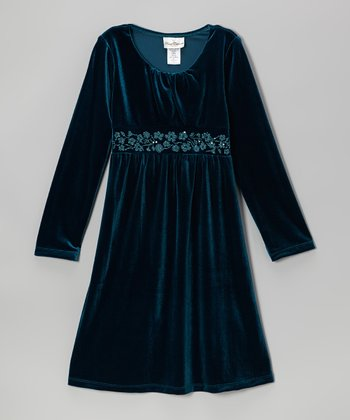 Navy Floral Velvet Dress - Girls